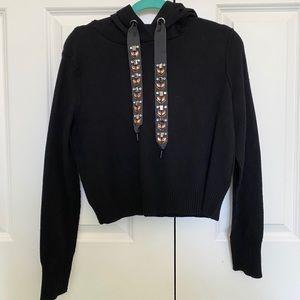 ZARA Knit Black Sweatshirt/Hoodie, SIZE M